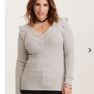 Torrid fitted ruffle sweater